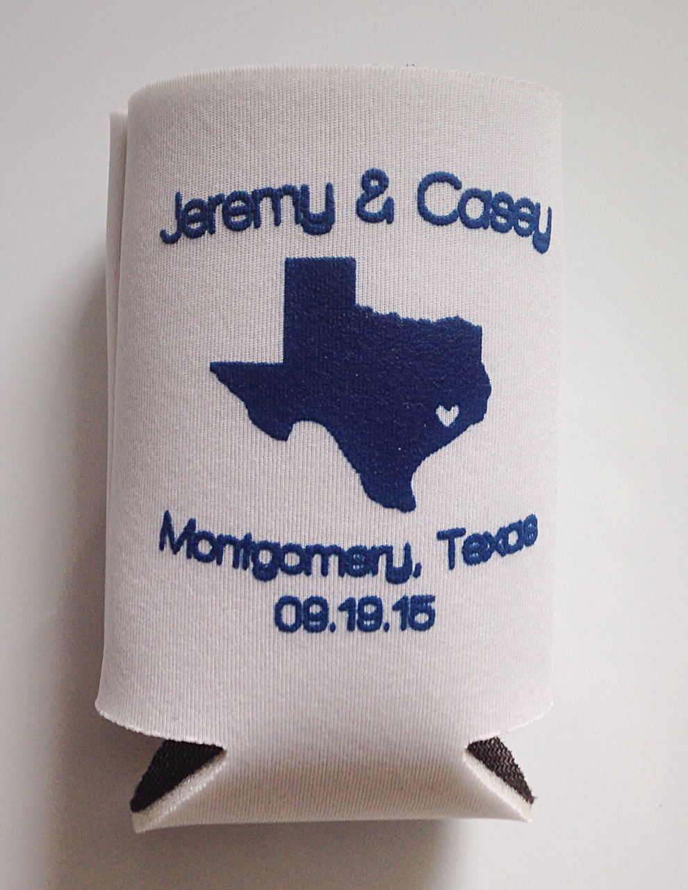 custom blue and white koozie