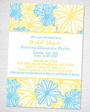 yellow and blue flower bridal shower invitation