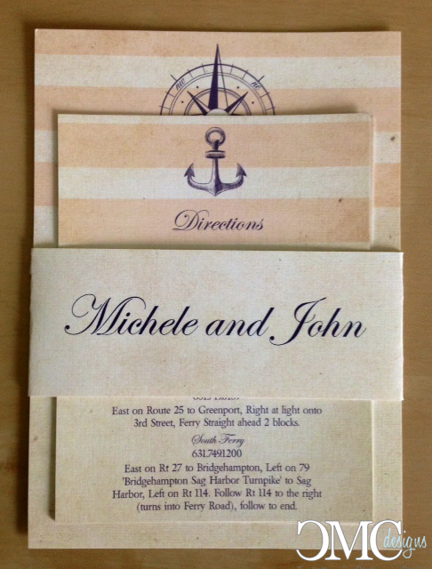 nautical themed wedding invitation with paper band