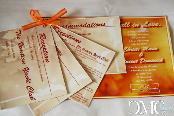 Fall themed wedding invitation package