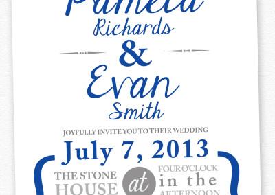 blue and white invite