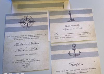 blue nautical stripe wedding invite suite