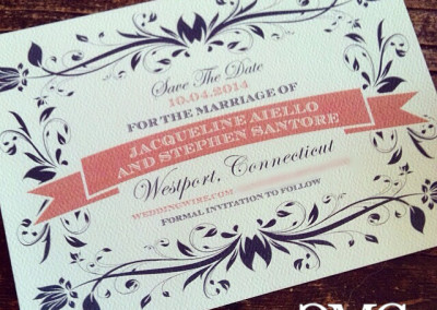 coral navy save the date Rounded Corners