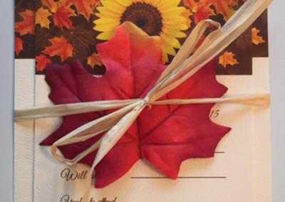 fall wedding invite raffia leaf