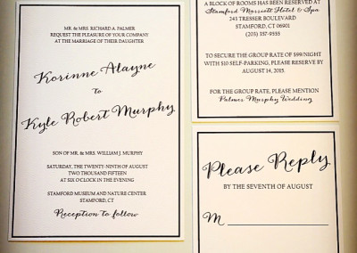 navy text based diagonal wedding invite