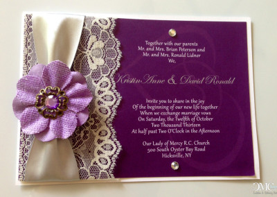 purple flower and lace wedding invite